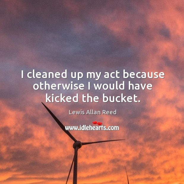I cleaned up my act because otherwise I would have kicked the bucket. Lewis Allan Reed Picture Quote