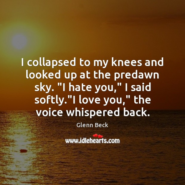 """I collapsed to my knees and looked up at the predawn sky. """" Image"""