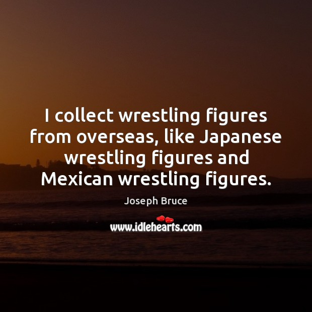 I collect wrestling figures from overseas, like Japanese wrestling figures and Mexican Image