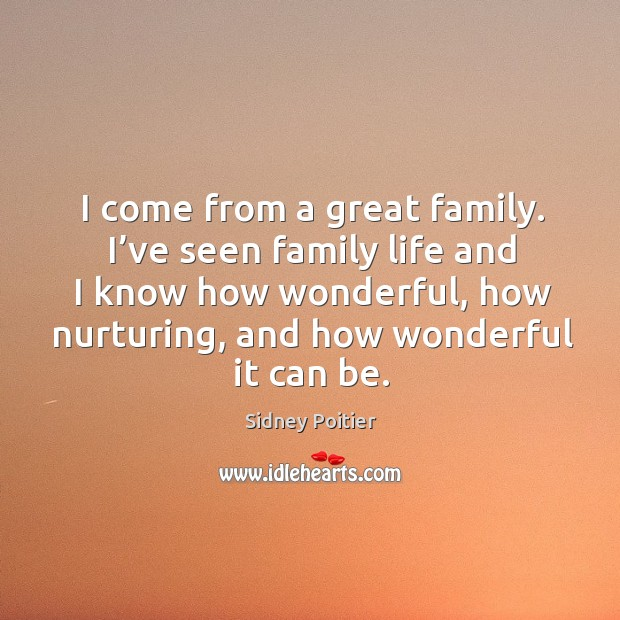 I come from a great family. I've seen family life and I know how wonderful Image