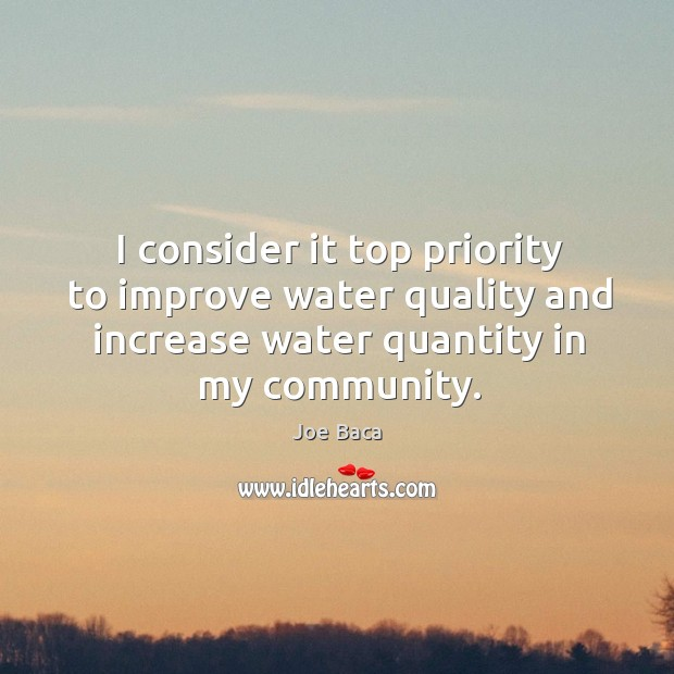 I consider it top priority to improve water quality and increase water quantity in my community. Image