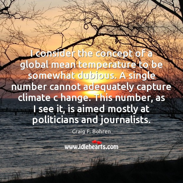 I consider the concept of a global mean temperature to be somewhat Image