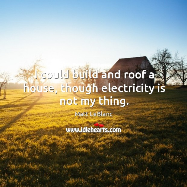 I could build and roof a house, though electricity is not my thing. Matt LeBlanc Picture Quote