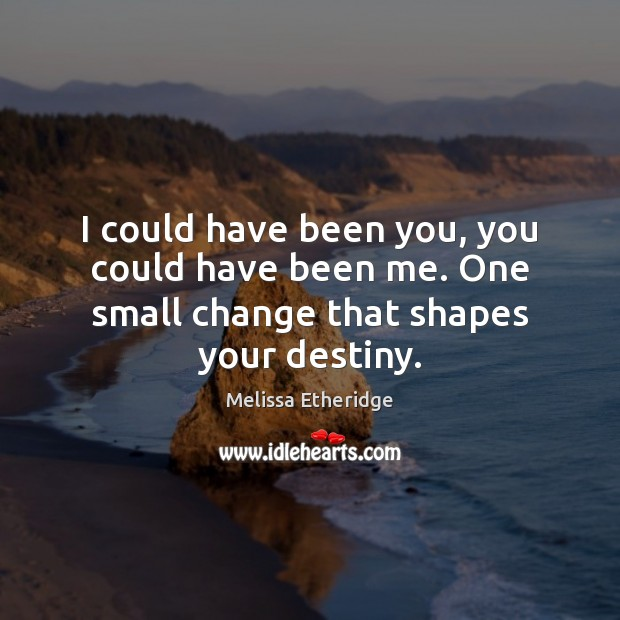 I could have been you, you could have been me. One small change that shapes your destiny. Melissa Etheridge Picture Quote