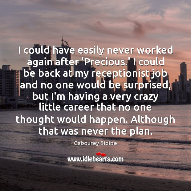 I could have easily never worked again after 'Precious.' I could Gabourey Sidibe Picture Quote