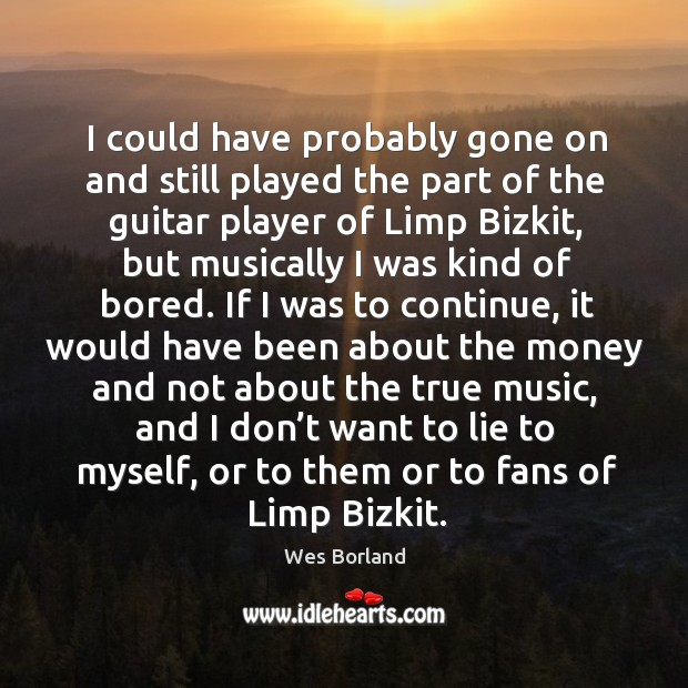 I could have probably gone on and still played the part of the guitar player of limp bizkit Wes Borland Picture Quote