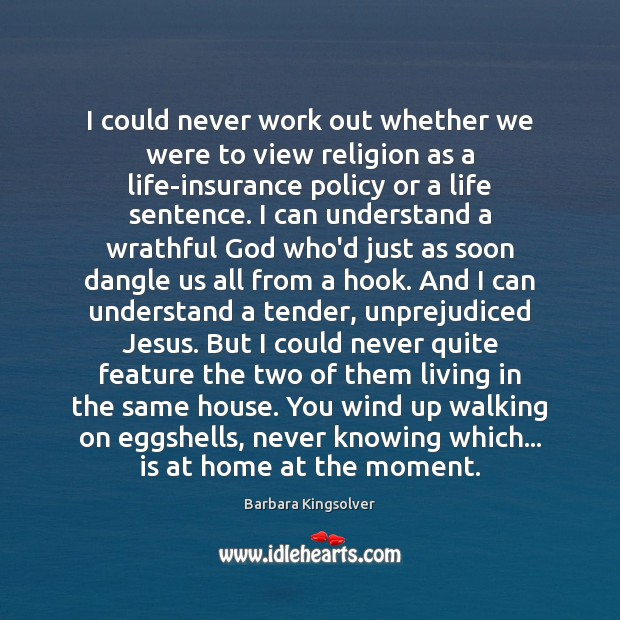 I could never work out whether we were to view religion as Barbara Kingsolver Picture Quote