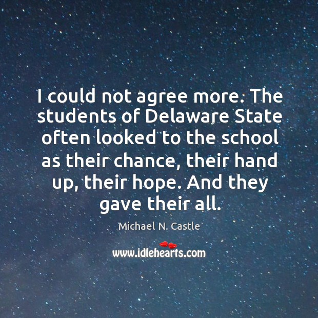 Image, I could not agree more. The students of delaware state often looked to the school as their