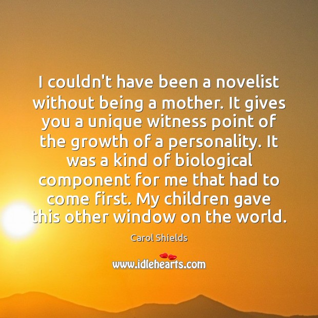 I couldn't have been a novelist without being a mother. It gives Image