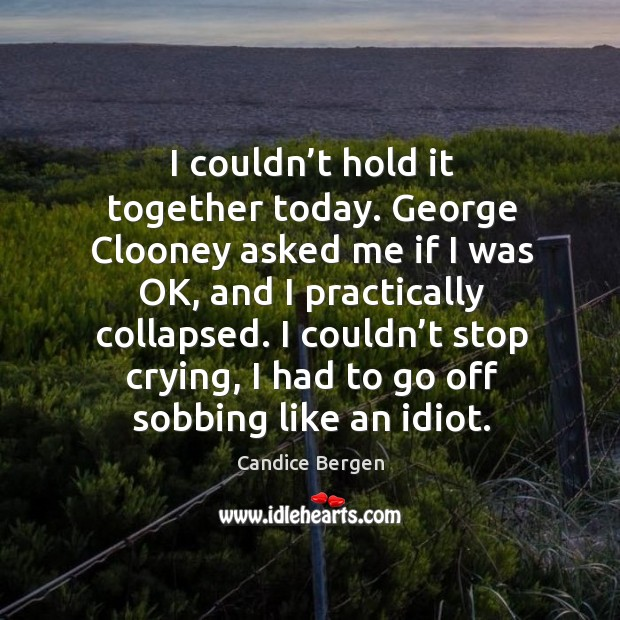 I couldn't stop crying, I had to go off sobbing like an idiot. Candice Bergen Picture Quote