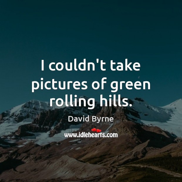 I couldn't take pictures of green rolling hills. David Byrne Picture Quote