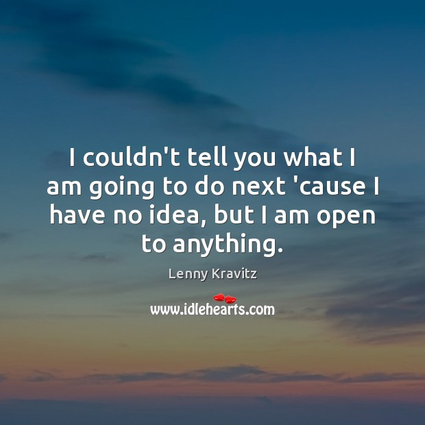I couldn't tell you what I am going to do next 'cause Lenny Kravitz Picture Quote