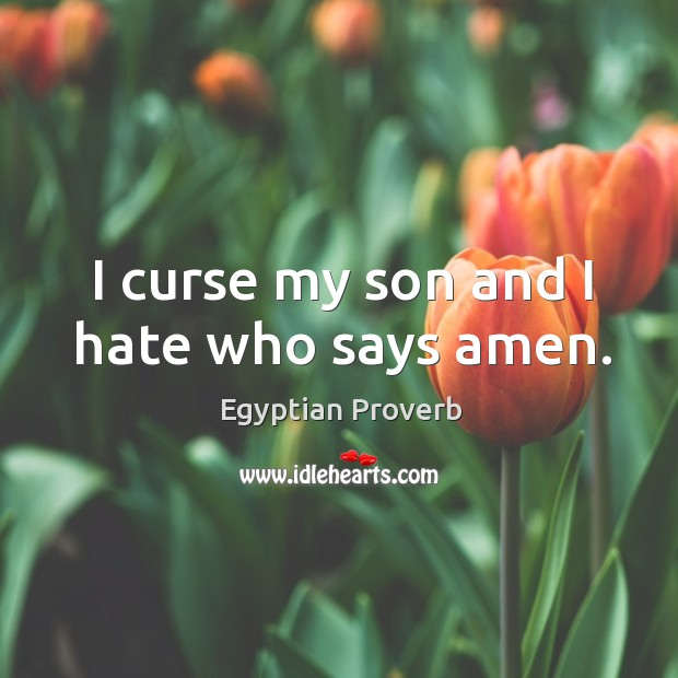 I curse my son and I hate who says amen. Egyptian Proverbs Image