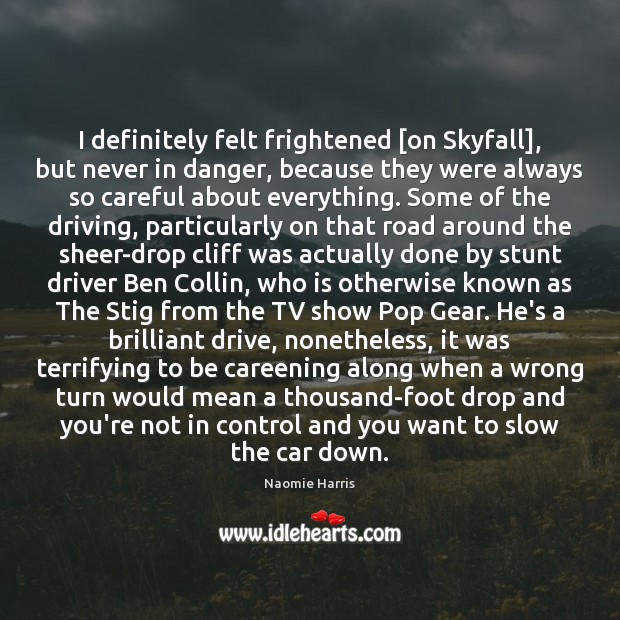 I definitely felt frightened [on Skyfall], but never in danger, because they Driving Quotes Image
