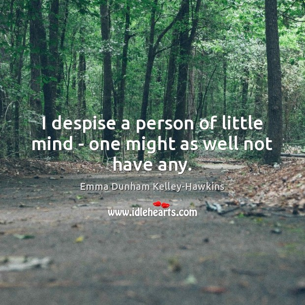 I despise a person of little mind – one might as well not have any. Image