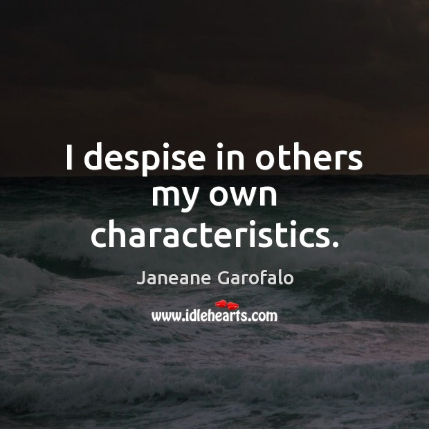 Image, I despise in others my own characteristics.