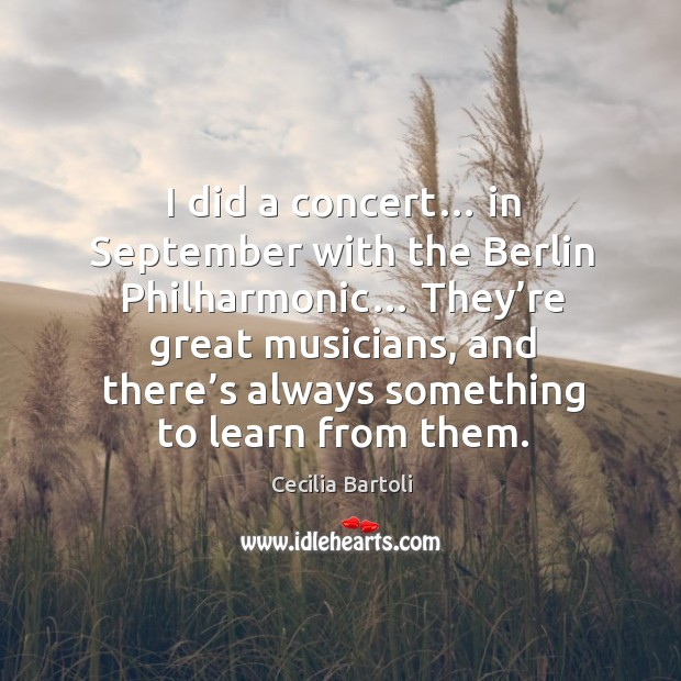 I did a concert… in september with the berlin philharmonic… Image