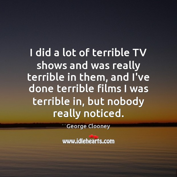I did a lot of terrible TV shows and was really terrible Image