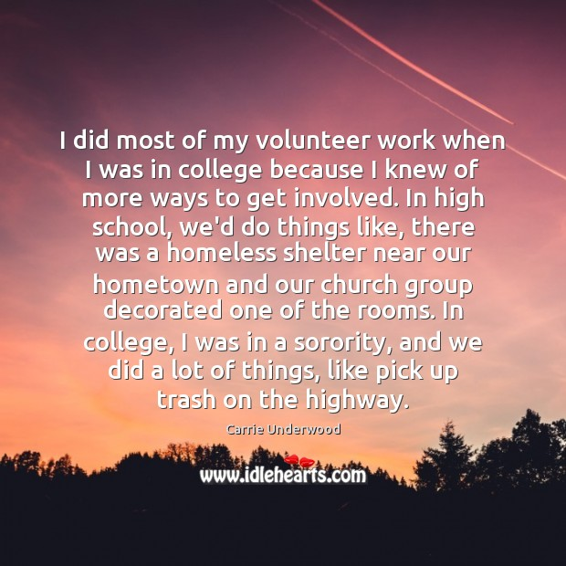 I did most of my volunteer work when I was in college Image
