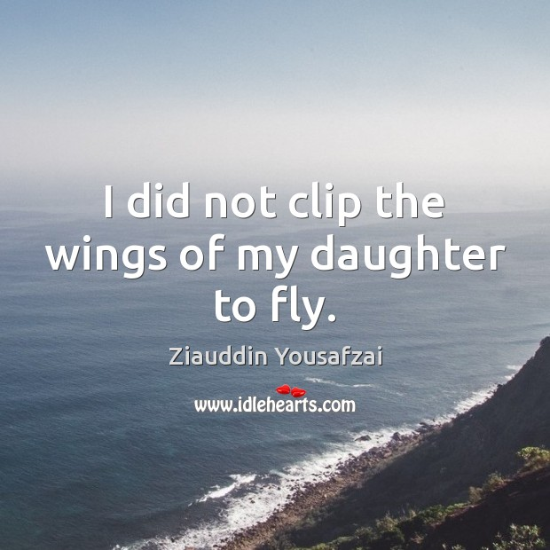 I did not clip the wings of my daughter to fly. Image
