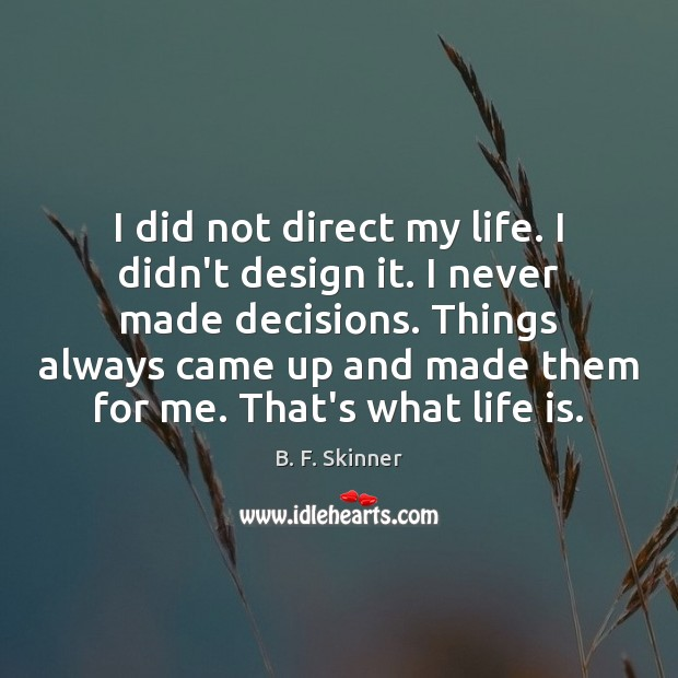 I did not direct my life. I didn't design it. I never Image