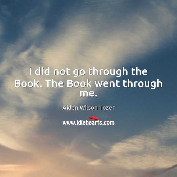 Image, I did not go through the Book. The Book went through me.