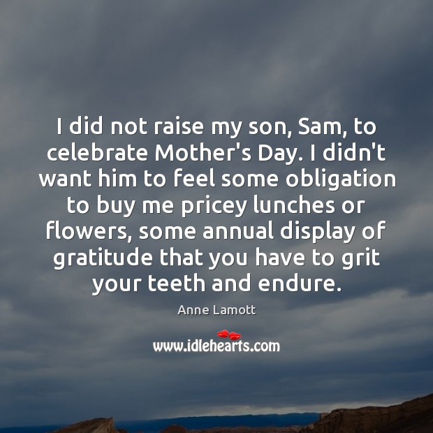 I did not raise my son, Sam, to celebrate Mother's Day. I Mother's Day Quotes Image