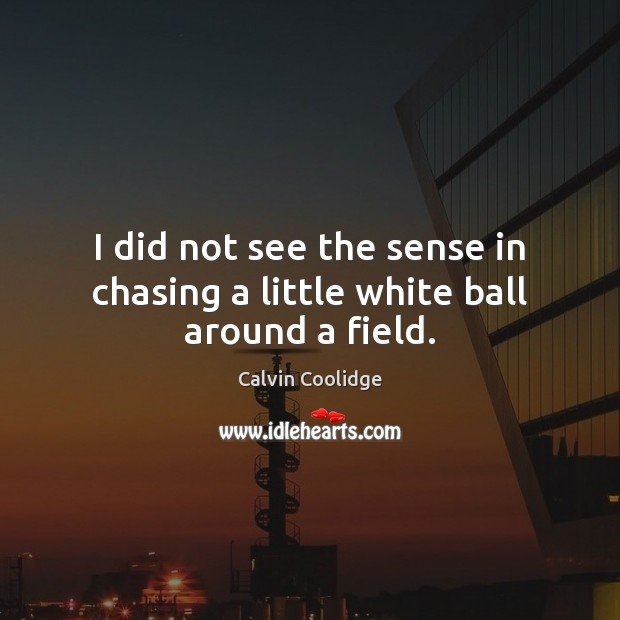 I did not see the sense in chasing a little white ball around a field. Image