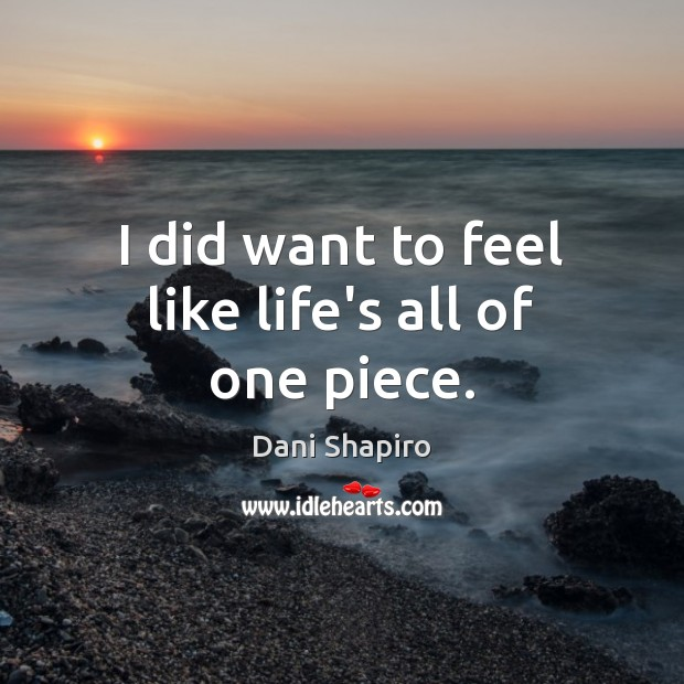 I did want to feel like life's all of one piece. Dani Shapiro Picture Quote