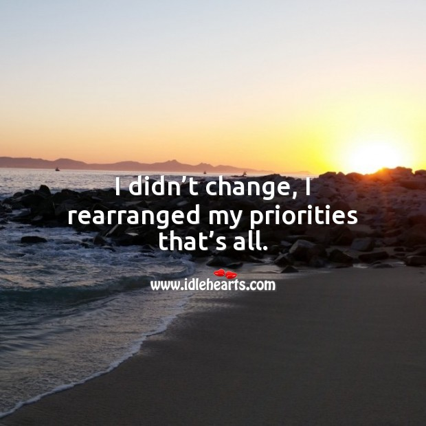 Image, I didn't change, I rearranged my priorities that's all.