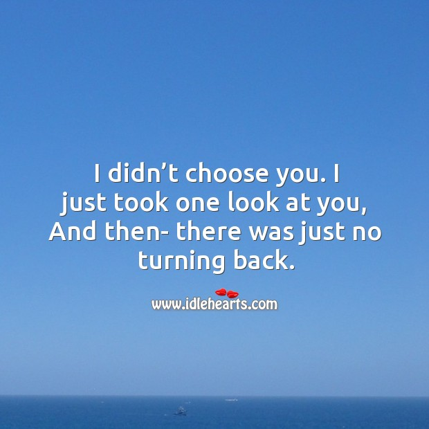 I didn't choose you. I just took one look at you, and then- there was just no turning back. Image