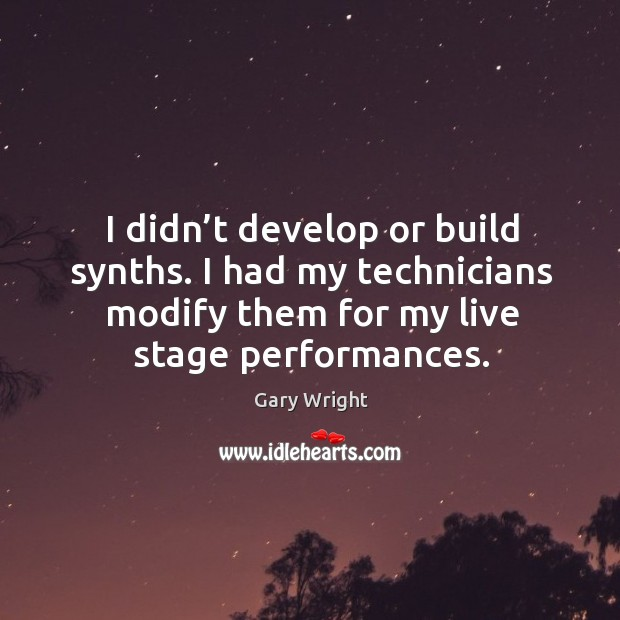 I didn't develop or build synths. I had my technicians modify them for my live stage performances. Image