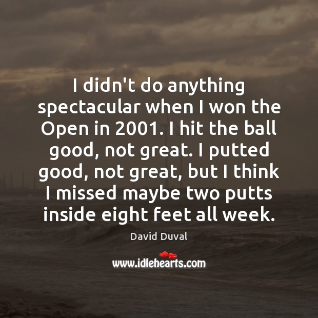 I didn't do anything spectacular when I won the Open in 2001. I David Duval Picture Quote