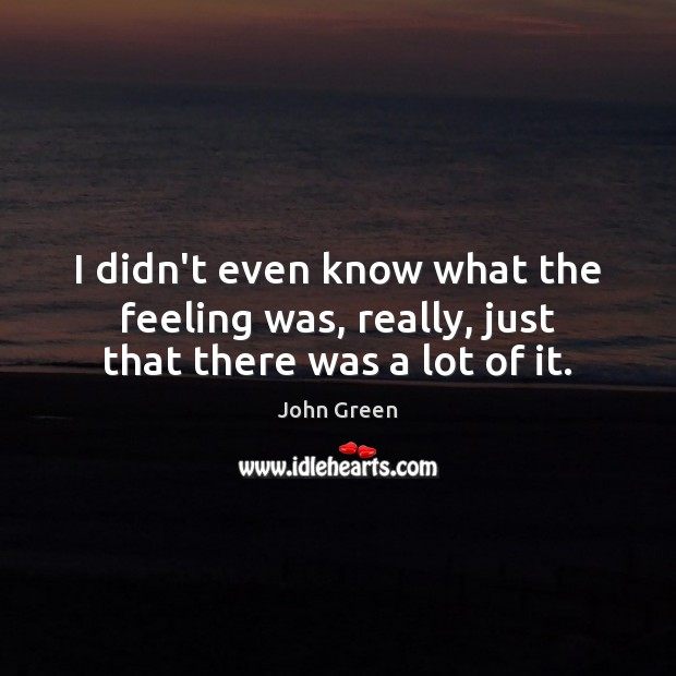 Image, I didn't even know what the feeling was, really, just that there was a lot of it.