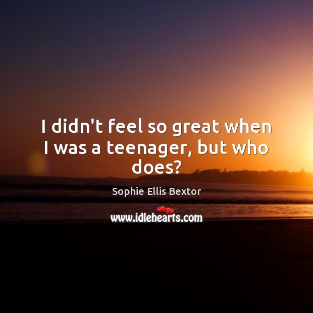 I didn't feel so great when I was a teenager, but who does? Sophie Ellis Bextor Picture Quote