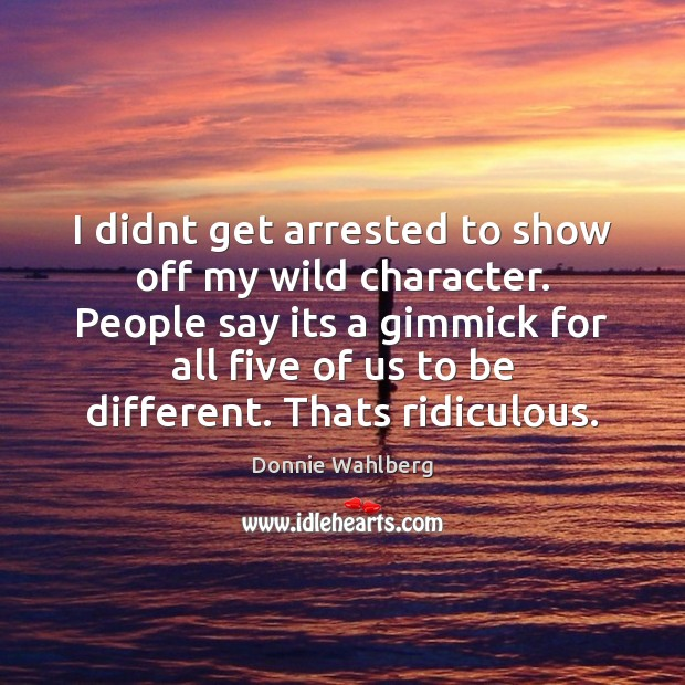 I didnt get arrested to show off my wild character. People say Donnie Wahlberg Picture Quote