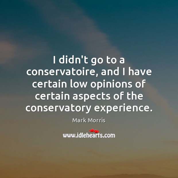 I didn't go to a conservatoire, and I have certain low opinions Mark Morris Picture Quote
