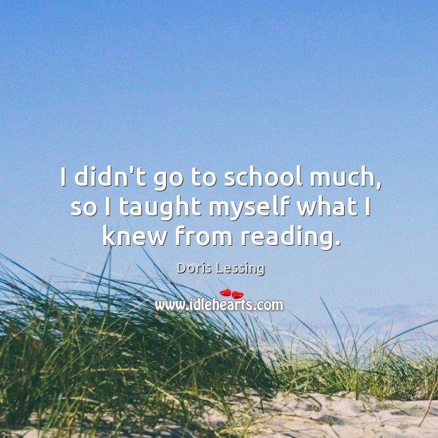 I didn't go to school much, so I taught myself what I knew from reading. Doris Lessing Picture Quote