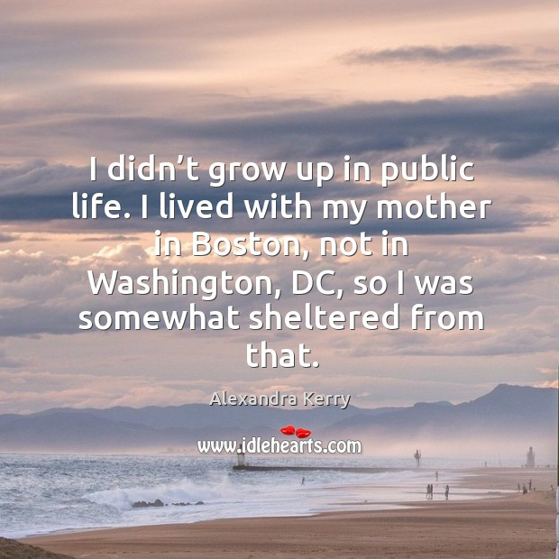I didn't grow up in public life. I lived with my mother in boston, not in washington Image
