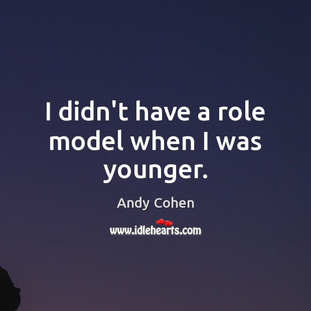 I didn't have a role model when I was younger. Andy Cohen Picture Quote