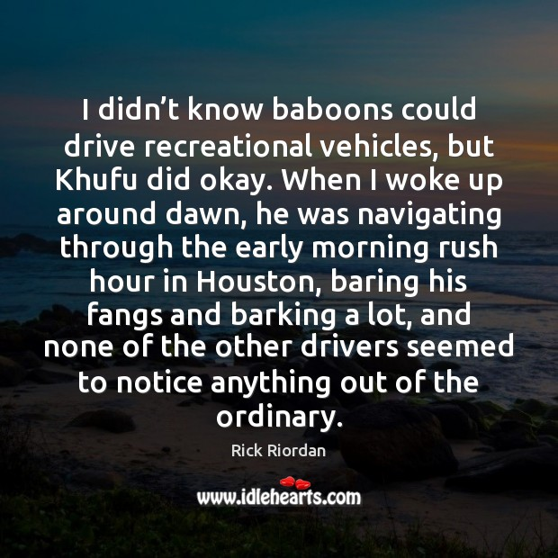 Image, I didn't know baboons could drive recreational vehicles, but Khufu did