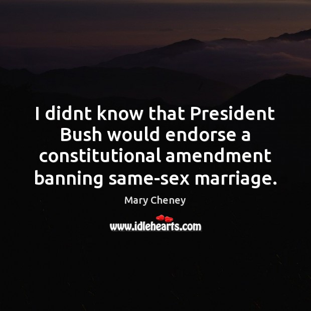 I didnt know that President Bush would endorse a constitutional amendment banning Image