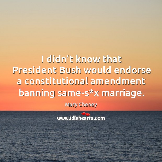 I didn't know that president bush would endorse a constitutional amendment banning same-s*x marriage. Image