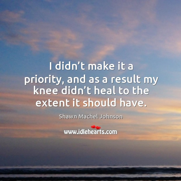 I didn't make it a priority, and as a result my knee didn't heal to the extent it should have. Shawn Machel Johnson Picture Quote