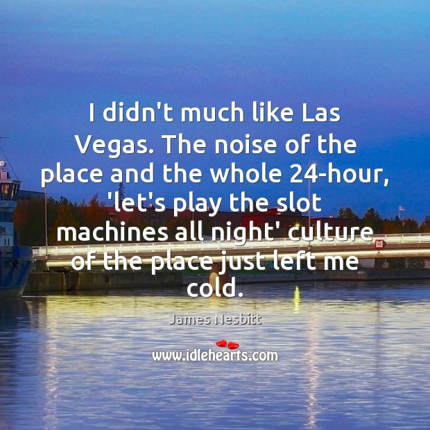 I didn't much like Las Vegas. The noise of the place and James Nesbitt Picture Quote