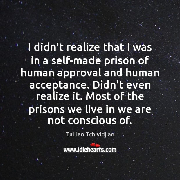 I didn't realize that I was in a self-made prison of human Tullian Tchividjian Picture Quote