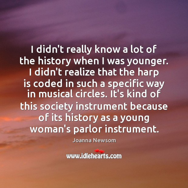 I didn't really know a lot of the history when I was Joanna Newsom Picture Quote