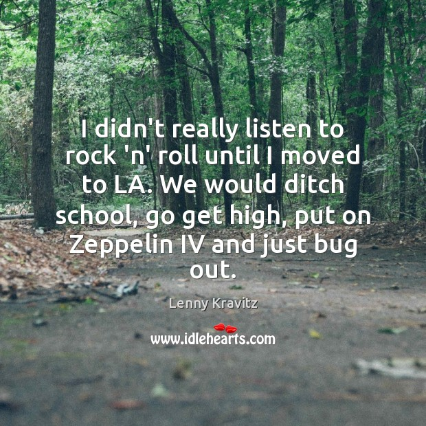 I didn't really listen to rock 'n' roll until I moved to Lenny Kravitz Picture Quote