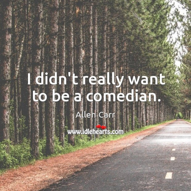 Image, I didn't really want to be a comedian.