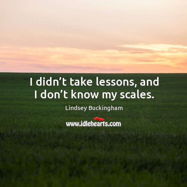 I didn't take lessons, and I don't know my scales. Lindsey Buckingham Picture Quote